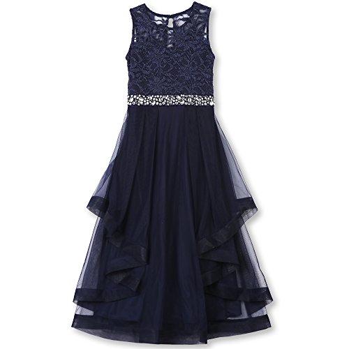 Speechless Big Girls' Formal Dance or Party Dress with Wide Ribbon Hem, Navy, (Tween Dresses Formal)