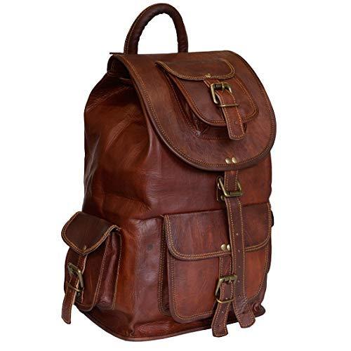 Classic Vintage Leather Backpack for Men   Handmade Laptop Drawstring Rucksack Backpack for Women, Large Travel Messenger Bag, Casual Daypack Knapsack, School College Book Bag, for Boys & Girls (16)