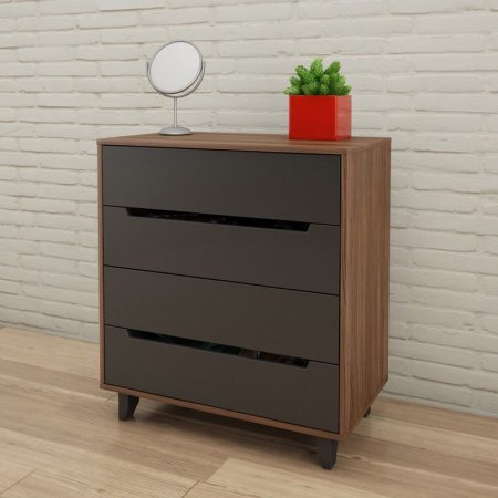 (Chest, 4 Drawers on Quality Metal Slides, Signature Drawer Front and Carved Legs with Charcoal Matte Lacquer Finish, Walnut Laminate Finish with Carved Charcoal Drawer Fronts and Legs + Expert Guide)