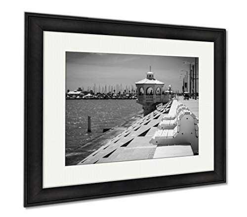 Ashley Framed Prints Corpus Christi Texas Coastal City On The Gulf Of Mexico With Deep Perspective, Wall Art Home Decoration, Black/White, 26x30 (frame size), Black Frame, - Gulf Texas Cities On The