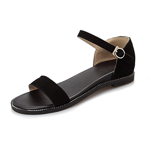 AmoonyFashion Womens Open Toe Buckle Cow Leather Solid Low-heels Wedges-Sandals Black-Frosted