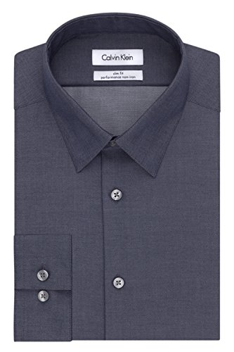 Calvin Klein Men's Dress Shirt Slim Fit Non Iron Herringbone, Smokey Blue, 15
