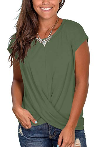 - Comfy Casual T Shirts for Women Twist Knotted Tops with Round Neck Army Green S