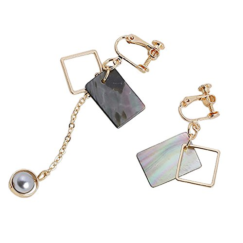 [Myun Statement Gold Tone Square Shell Grey Pearl Drop Dangle Clip on Earrings for Women Fashion] (Dark Heart Queen Halloween Costumes)