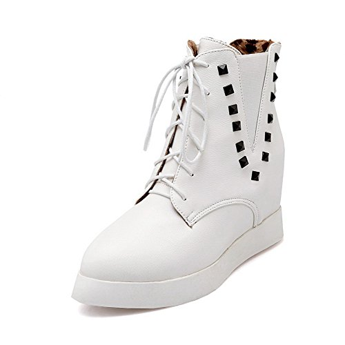 Allhqfashion Women's High-Heels Solid Pointed Closed Toe Soft Material Lace-up Boots White NuUR7iJYZ