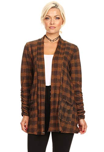 Simlu Long Sleeve Cardigan Sweater for Women with Pockets - Made in USA (Size X-Large US 14-16, Gold - Black ()