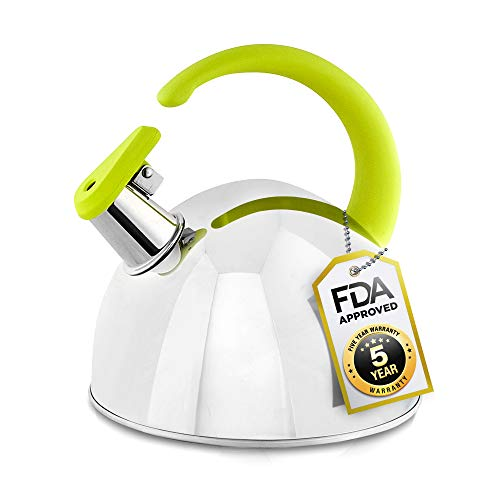 Whistling Tea Kettle, 304 Stainless Steel with Green Soft Touch Silicone Handle, 1.7QT - Pour Over Kettles, Modern - Stylish, Encapsulated Base, Rust-Proof, All Stovetop Coffee and Tea Pots