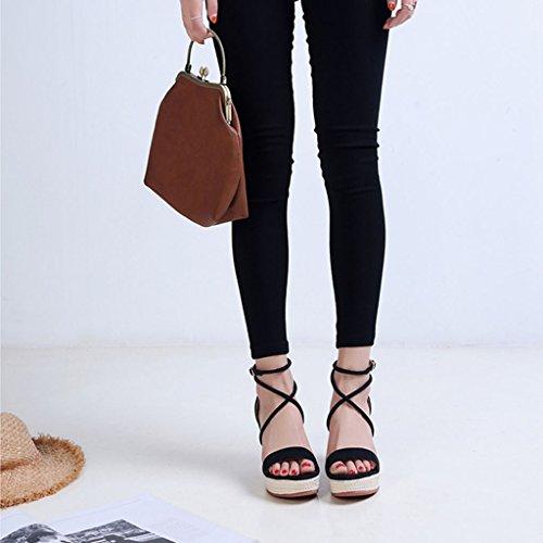Zapatos Cuero De Black Plataforma Pendiente Black Con color Muffin Size 37 Suela Sra Verano Paja Sandalias Gruesa Limpieza 6pPw5Yvq