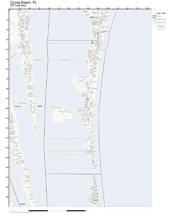 Amazon.com: ZIP Code Wall Map of Cocoa Beach, FL ZIP Code Map