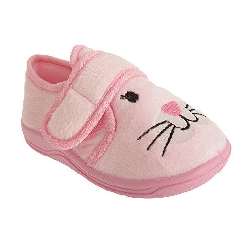 Mädchen Klettverschluss Hasen Design Hausschuhe Pink