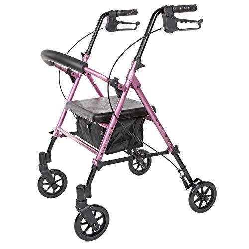 Carex Step 'N Rest Aluminum Rolling Walker For Seniors, Pink