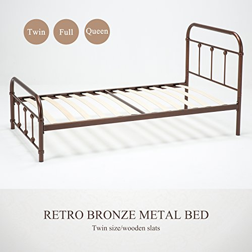 Mecor Bronze Metal Bed Frame Twin Size Platform, with Headboard Footboard,Steel Frame with Wooden Mattress Foundation Slats
