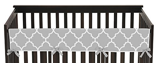 Sweet Jojo Designs Gray and White Trellis Lattice Long Front Rail Guard Baby Teething Cover Crib Protector (Lattice Rail)
