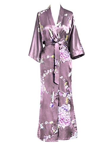 Cotton Exclusive Satin - Old Shanghai Women's Kimono Long Robe - Chrysanthemum & Crane - Mauve
