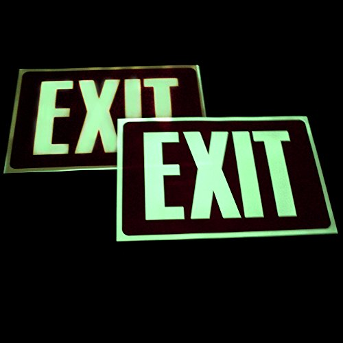 (Fun Central BC787 2 Packs of Glow in The Dark Exit Sign, Exit Signs for Decoration, Glow in The Dark Signs)