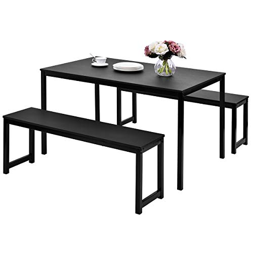 LZ LEISURE ZONE Dining Table Set, 3-Piece Wood Kitchen Table with Two Benches, Dining Room Furniture Modern Style Contemporary (Black) (Kitchen Dining Corner Bench)