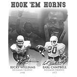 Earl Campbell signed Texas Longhorns 16x20 B&W Photo Hook Em Horns w/Ricky Williams (Heisman)