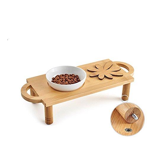 Perro Bowl Tazón De Fuente Doble Cerámica Bambú Madera Comedor Mesa De Acero Inoxidable-S