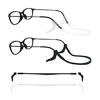 2 Sets Of Silicone Glasses Strap And Eyeglasses Temple Sleeve Suitable For Both Adults And Children, Safe Eyewear Retainers, Soft Silicone Anti-Slip Holder For Eyewear(Black & White)