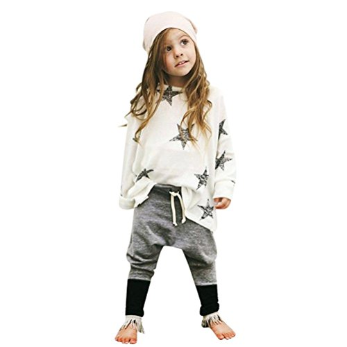 Misaky Toddler Kids Girls Outfit Star Long Sleeve T-shirt +Long Pants 1Set (130CM(6T), White)