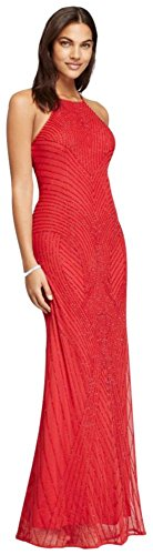 David's Bridal Long Allover Beaded Dress with High Halter Neck Style WGIN0138, Red, 6 by David's Bridal