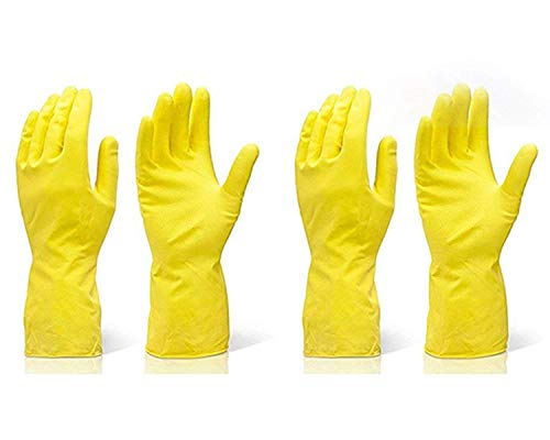 Fortane Reusable Rubber Cleaning Gloves Set   Hand Gloves for Washing, Cleaning Kitchen, Gardening Free Size, Pack of 2…