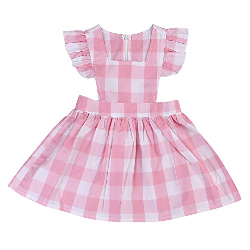 Toddler Girls Plaids Check Dress Fly Sleeve One-piece Dresses Playwear Baby Girl Clothes (2-3 years, Pink)