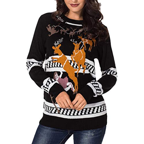 d0a0b7adfaa Xinantime Women Xmas Pullover Jumper Tops Deers Print Bottom Blouse Shirt  Long Sleeve Top Tunic