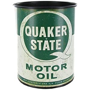 genuine quaker state motor oil metal can container retro