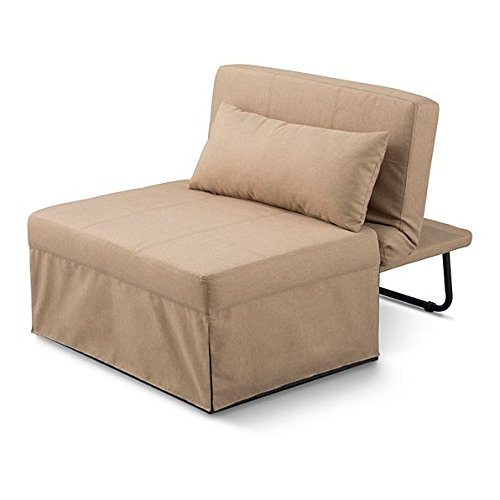 5 in 1 Ottoman Bed - Ottoman, Bed, Chair, Chaise, and Recliner all in 1 - Great for Dorms! (Tan)