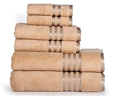 Casa Lino -Premium 6 Piece towel set, 2 Bath towels, 2 Hand Towels 2 Washcloths, Machine washable, Hotel quality, Soft absorbent Towel Gift Set- Dove Cotton collection