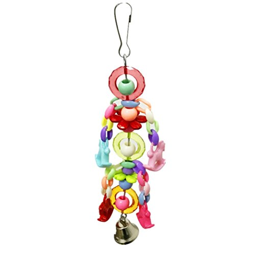 Celendi Acrylic Colorful Pet Bird Toy Parrot Swing Cage Bells For Parakeet Cockatiel Toys