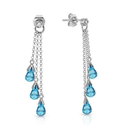14K Solid White Gold Chandelier Earrings withDiamonds & Blue Topaz ()