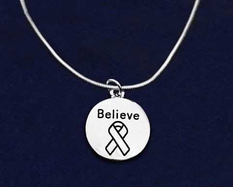 Fundraising For A Cause 12 Pack Silver Circle Believe Necklaces in Gift Boxes Wholesale Pack - 12 Necklaces