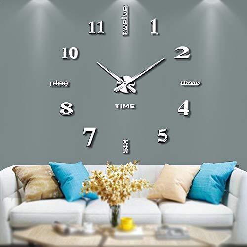Silenciar DIY Frameless Gran Reloj De Pared Numeros 3D Relojes De Pared Espejo Pegatina Para Ministerio Del Interior Decoraciones (Plata-14)