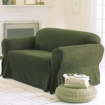 1 Piece Couch Cover Micro Suede Solid NAVY BLUE Loveseat Slipcover