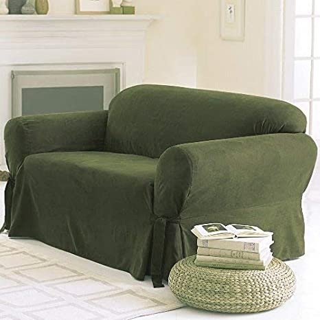 Grand Linen Micro Suede Solid SAGE Green Sofa Slipcover - 1 Piece Couch  Cover