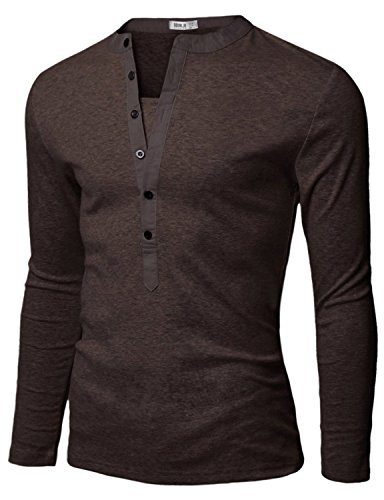Doublju Mens Henley T Shirts With Long Sleeve Brown Us Xs