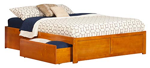 - Atlantic Furniture AR8042117 Concord Platform Flat Panel Foot Board and 2 Urban Bed Drawers, Queen, Caramel