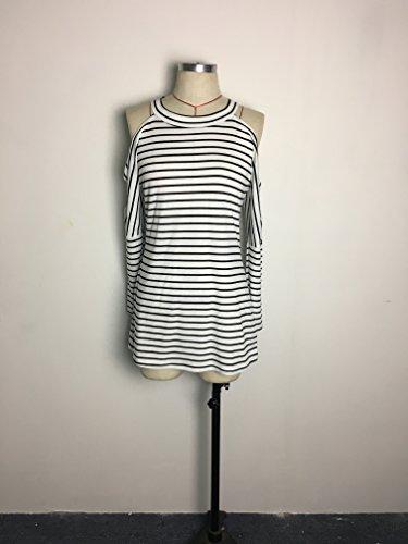 A Donne Donna Spalline Collo Battercake Bianca Eleganti Blusa Manica T Moda Top Autunno Righe Rotondo E Camicie Senza Nera Shirt Casual Lunga Casuale Ib7mfvgYy6