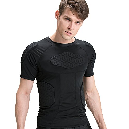 Chest Padded Baseball Shirt (Men's Boys Padded Compression Shirt Rib Protector for Football Paintball (Black, M))