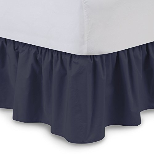 Ruffled Bedskirt (Cal King, Navy Blue) 18 Inch Bed Skirt with Platform, Wrinkle and Fade Resistant - by Harmony Lane (Available in all bed sizes and 16 colors)