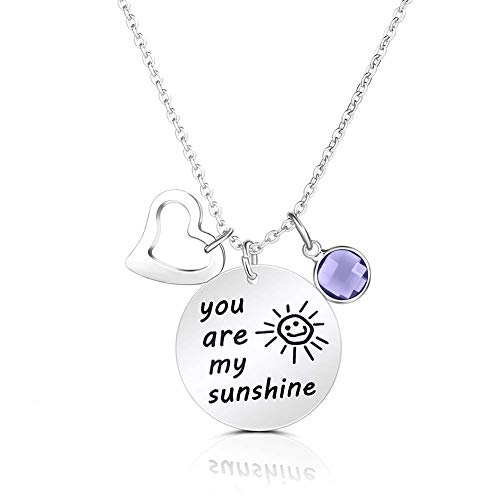 "SUMMER LOVE Stainless Steel Birthstone Crystals Necklace,Inspirational Quote Jewelry Engraved Message You are My Sunshine Pendant Necklace 18"" Chain (June)"