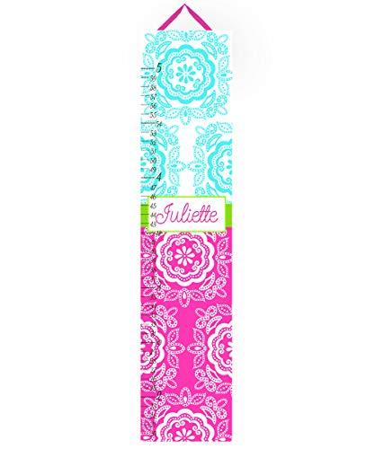 Medallion Lime (Canvas Growth Chart Hot Pink, Turquoise and Lime Green Floral Medallion Girls Bedroom Baby Nursery OR You Choose Colours GC0193)