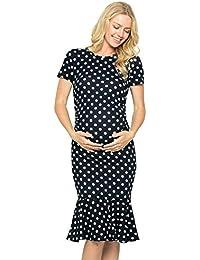 Maternity Midi Dress - Fitted Stretch Short Sleeves Mermaid Flare Ruffle