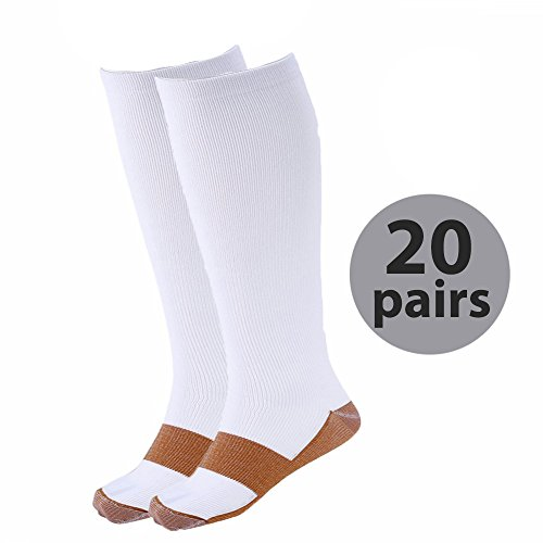 Medex Lab Calves High Copper Compression Socks Aid in Blood Circulation, Relieves Pain and Aches off Your Feet, White, Large/X-Large, 20 Pair by Medex Lab Inc