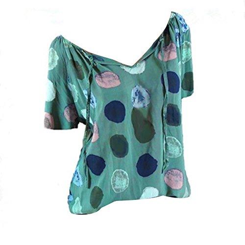 Courtes LULIKA Manches Bandage Wave Femme Grande Vert Point DBardeurs Shirt T Shirt Tee Loose Taille Chemisier FwrFxzCq
