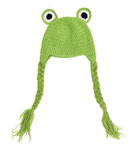 La Vogue Toddler Baby Green Frog Ear Flap Hat Beanie Crochet Handmade Cap (Iris Frogs)