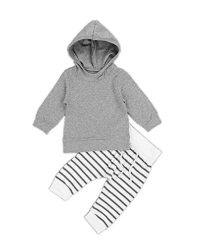 Newborn Baby Boys Girls Grey Hoodie Sweatshirt Top + Striped Pants Outfits Set toddling Around Clothes