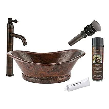 Attirant Premier Copper Products BSP1_VBT20DB Bath Tub Vessel Hammered Copper Sink  With Single Handle Vessel Faucet,